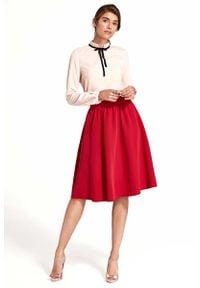 Nife - Rozkloszowana Czerwona Spódnica do Kolan. Kolor: czerwony. Materiał: wiskoza, poliester, elastan. Długość: do kolan
