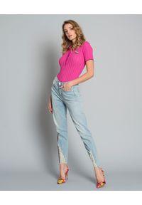 Pinko - PINKO - T-shirt polo z naszywką Bongi. Okazja: na co dzień. Typ kołnierza: polo. Kolor: wielokolorowy, różowy, fioletowy. Materiał: prążkowany, materiał. Wzór: aplikacja. Styl: elegancki, casual