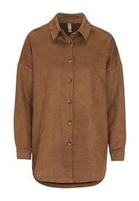 Brązowa koszula Soyaconcept klasyczna, na co dzień, z długim rękawem