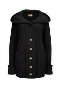 LA MANIA - Sweter z kapturem Moody. Typ kołnierza: kaptur. Kolor: czarny. Materiał: wełna. Wzór: aplikacja. Sezon: zima