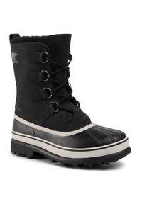 Czarne buty zimowe sorel na co dzień, z cholewką, casualowe