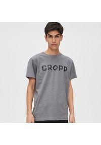 Szary t-shirt Cropp z napisami