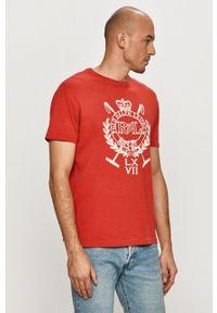 Polo Ralph Lauren - T-shirt. Okazja: na co dzień. Typ kołnierza: polo. Kolor: czerwony. Wzór: nadruk. Styl: casual