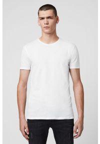 Biały t-shirt AllSaints casualowy, z okrągłym kołnierzem, na co dzień