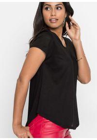 Shirt z głębokim dekoltem z tyłu bonprix Shirt czarny. Kolor: czarny. Długość rękawa: krótki rękaw. Długość: krótkie