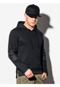Czarna bluza Ombre Clothing z aplikacjami, z kapturem
