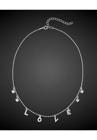 SIN BY MANNEI - Choker ze srebra Love. Materiał: srebrne. Kolor: srebrny. Wzór: aplikacja. Kamień szlachetny: cyrkonia
