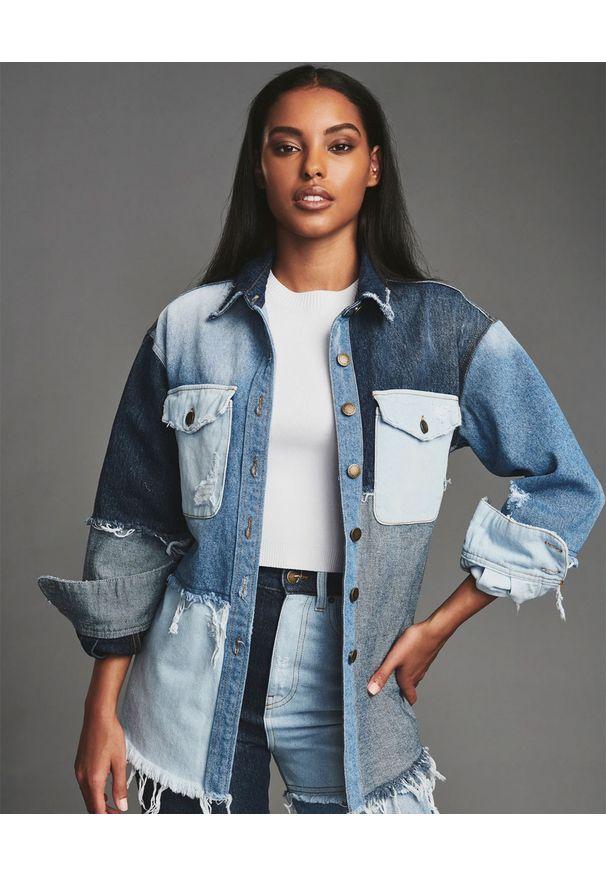 RETROFETE - Patchworkowa koszula jeansowa. Kolor: niebieski. Materiał: jeans. Długość rękawa: długi rękaw. Długość: długie