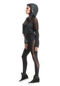 FJ! - Bluza SEXY - czarna. Kolor: czarny. Materiał: poliester, dzianina, poliamid, elastan. Długość: krótkie. Wzór: kropki. Sport: fitness