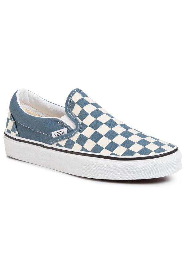 Niebieskie buty sportowe Vans bez zapięcia, z cholewką