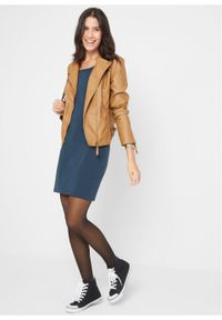Sukienka ze stretchem, krótki rękaw bonprix ciemnoniebieski. Kolor: niebieski. Materiał: bawełna. Długość rękawa: krótki rękaw