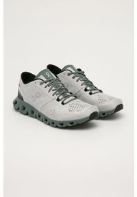 Szare buty sportowe On Running z cholewką, z okrągłym noskiem, na sznurówki