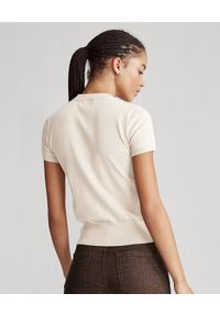 Beżowy sweter Ralph Lauren krótki, casualowy, na co dzień, z krótkim rękawem