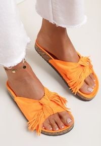 Renee - Pomarańczowe Klapki Sabophia. Kolor: pomarańczowy