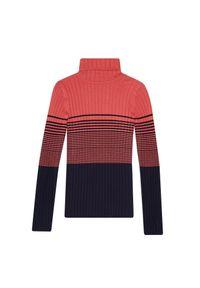 Sweter MOODO w paski, z golfem, długi, z długim rękawem
