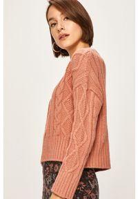 Różowy sweter ANSWEAR z okrągłym kołnierzem