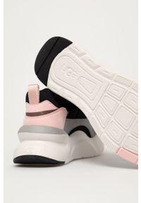 Czarne sneakersy Ugg na średnim obcasie, z cholewką