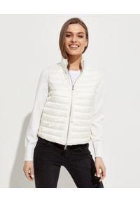 MONCLER - Biała bluza z ociepleniem. Kolor: biały. Materiał: wełna, puch, materiał. Długość rękawa: długi rękaw. Długość: długie