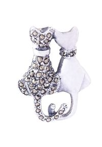 Braccatta - LUV Srebrna broszka z markazytami koty zakochane. Materiał: srebrne. Kolor: srebrny. Wzór: aplikacja. Kamień szlachetny: markazyt