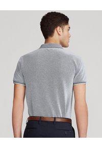 Ralph Lauren - RALPH LAUREN - Szara koszulka polo Birdseye Slim Stretch. Okazja: na co dzień. Typ kołnierza: polo. Kolor: szary. Materiał: jeans, tkanina, bawełna, prążkowany. Wzór: haft. Styl: casual