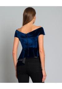 SELF PORTRAIT - Granatowa bluzka Cut Out. Kolor: niebieski. Materiał: elastan, poliester. Wzór: geometria. Styl: elegancki