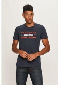 Niebieski t-shirt Diesel z nadrukiem, z okrągłym kołnierzem, casualowy