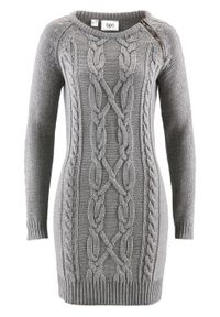 Szara sukienka bonprix melanż, z długim rękawem