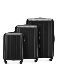 Wittchen - Zestaw walizek z polikarbonu fakturowanych. Kolor: czarny. Materiał: guma. Styl: klasyczny