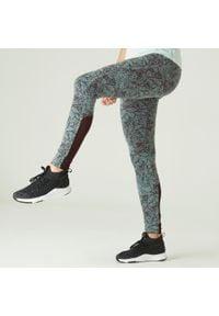 NYAMBA - Legginsy fitness 520. Kolor: szary. Materiał: poliester, materiał, bawełna, elastan. Wzór: ze splotem. Sport: fitness