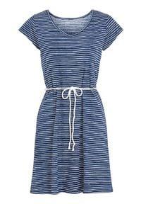 Cellbes Sukienka plażowa w paski niebieski w paski female niebieski/ze wzorem 54/56. Kolor: niebieski. Materiał: jersey, bawełna. Długość: krótkie. Wzór: paski