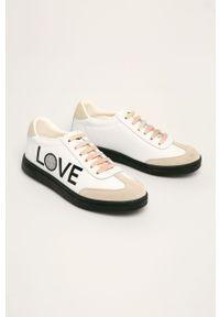 Białe buty sportowe Desigual na sznurówki, z cholewką