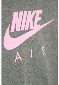 Szara bluzka z długim rękawem Nike Kids casualowa, na co dzień, długa