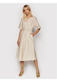 Imperial Sukienka codzienna ABTWBGV Beżowy Regular Fit. Okazja: na co dzień. Kolor: beżowy. Typ sukienki: proste. Styl: casual