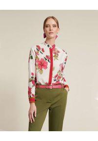 Luisa Spagnoli - LUISA SPAGNOLI - Biała koszula z kwiatowym motywem Badius. Kolor: biały. Materiał: jedwab. Długość: długie. Wzór: kwiaty. Styl: wakacyjny, elegancki