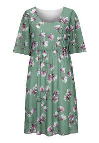 Cellbes Elegancka sukienka z tkaniny w kwiaty z szerokimi rękawami zamglona zieleń w kwiaty female zielony/ze wzorem 34/36. Kolor: zielony. Materiał: tkanina. Wzór: kwiaty. Styl: elegancki