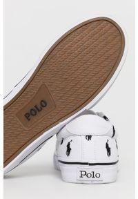 Białe niskie trampki Polo Ralph Lauren z cholewką, z okrągłym noskiem