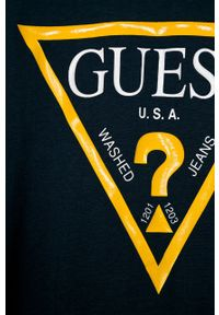 Niebieska koszulka z długim rękawem Guess Jeans casualowa, z nadrukiem, na co dzień