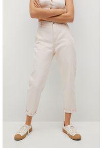 Białe jeansy loose fit mango z podwyższonym stanem, gładkie
