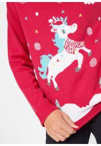 Czerwony sweter bonprix z nadrukiem
