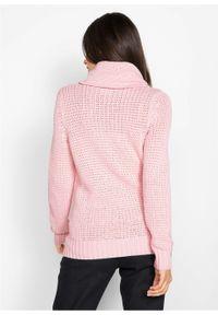 Sweter z golfem z troczkami bonprix Sweter z golf p.j.r. Typ kołnierza: golf. Kolor: różowy. Materiał: skóra. Wzór: aplikacja