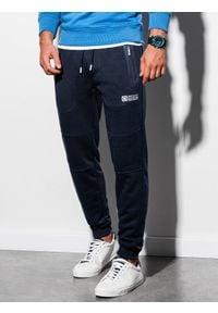 Ombre Clothing - Spodnie męskie dresowe joggery P902 - granatowe - XXL. Kolor: niebieski. Materiał: dresówka. Wzór: nadruk. Styl: sportowy