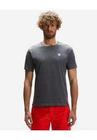 North Sails - NORTH SAILS - Grafitowy t-shirt z naszywanym logo. Kolor: szary. Materiał: bawełna. Wzór: aplikacja