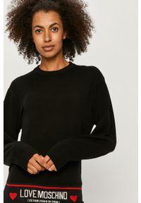 Czarny sweter Love Moschino z aplikacjami, z okrągłym kołnierzem