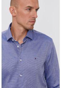 TOMMY HILFIGER - Tommy Hilfiger - Koszula bawełniana. Typ kołnierza: kołnierzyk włoski. Kolor: niebieski. Materiał: bawełna. Długość rękawa: długi rękaw. Długość: długie