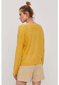 Żółty sweter rozpinany Vero Moda gładki, z długim rękawem, długi