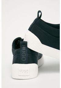 Niebieskie sneakersy Hugo na sznurówki, z okrągłym noskiem