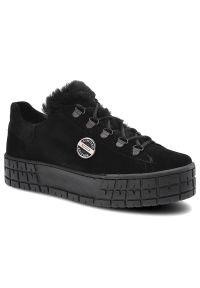 Pollonus - Sneakersy POLLONUS 5-1216-006 Czarny Welur. Okazja: do pracy, na co dzień. Kolor: czarny. Materiał: welur. Szerokość cholewki: normalna. Sezon: jesień. Obcas: na platformie. Styl: casual