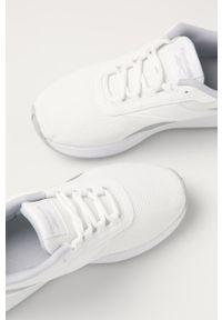 Białe buty sportowe Reebok na sznurówki, z okrągłym noskiem, na obcasie, z cholewką