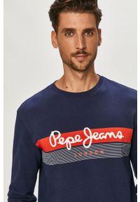 Pepe Jeans - Bluza bawełniana Elvin. Okazja: na co dzień. Kolor: niebieski. Materiał: bawełna. Wzór: nadruk. Styl: casual