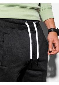 Ombre Clothing - Spodnie męskie dresowe joggery P867 - czarne - XXL. Kolor: czarny. Materiał: dresówka #3